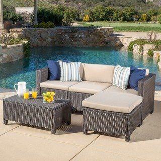 Moses 5 Piece Outdoor Sofa Set Wicker Patio Furniture Sofa Set