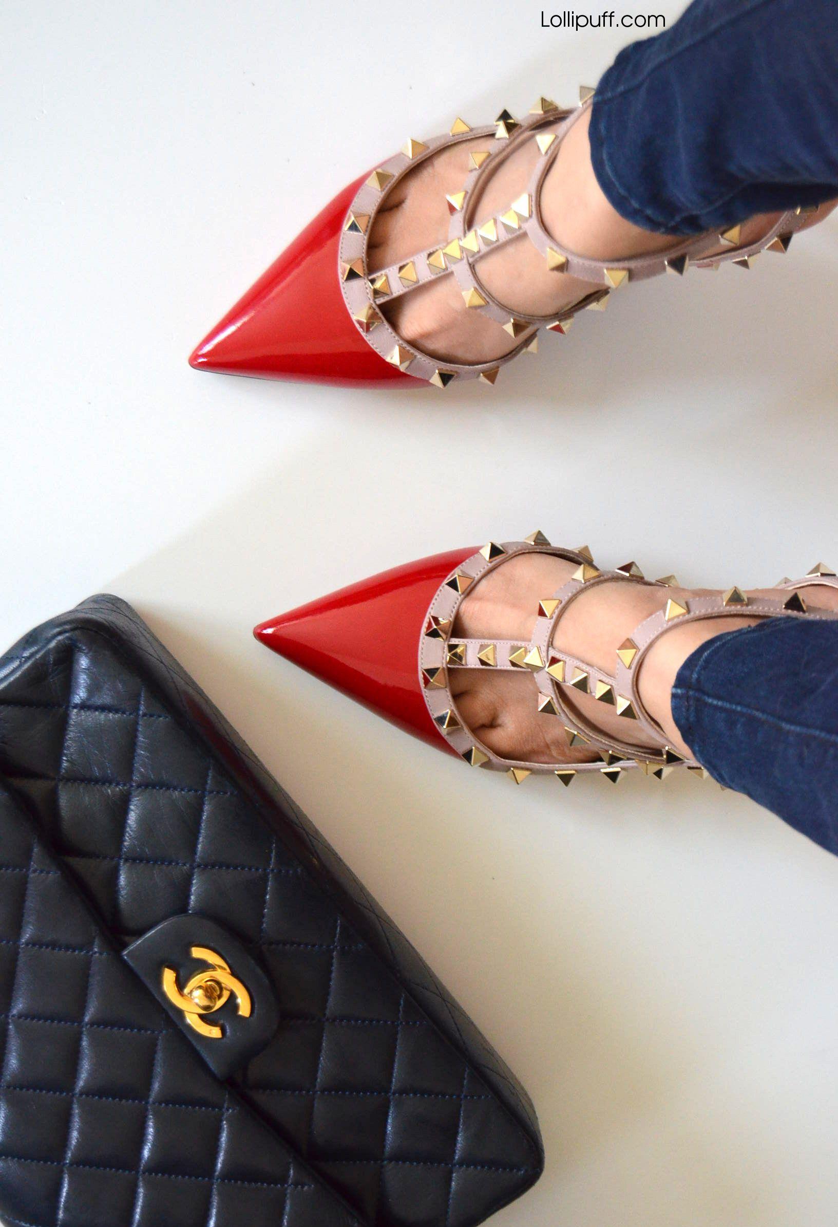 shoe wearing Valentino rockstud shoes