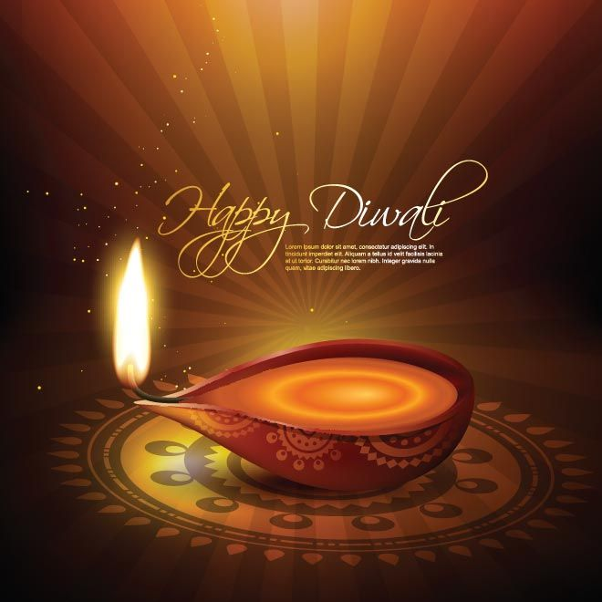 Vector Beautiful Illustration Of Happy Diwali Oil Lamp Glowing On Shinny Brown Background