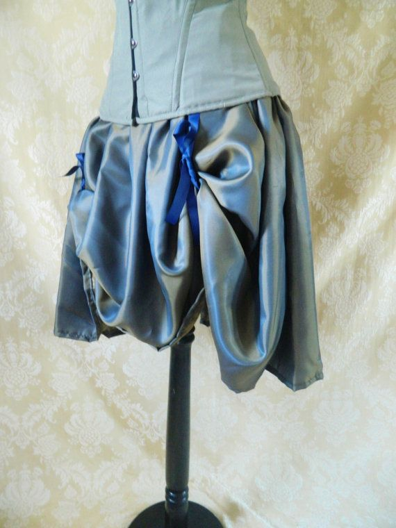 Blue Gold Shot Knee Length Bustle SkirtOne Size by AliceAndWillow, $49.00