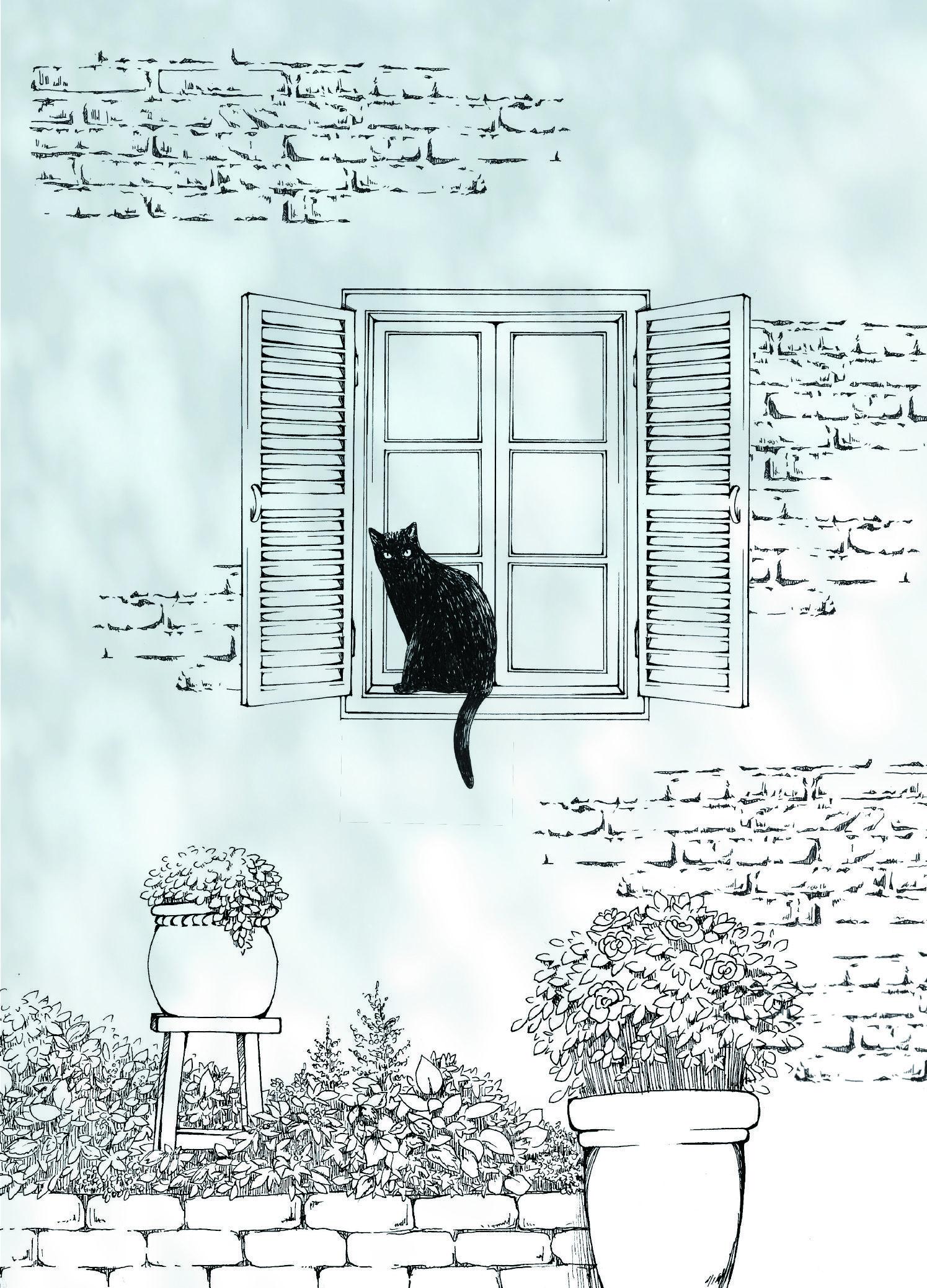 Cat 猫 黒猫 イラスト 窓 レンガ 木漏れ日 ウォールステッカー