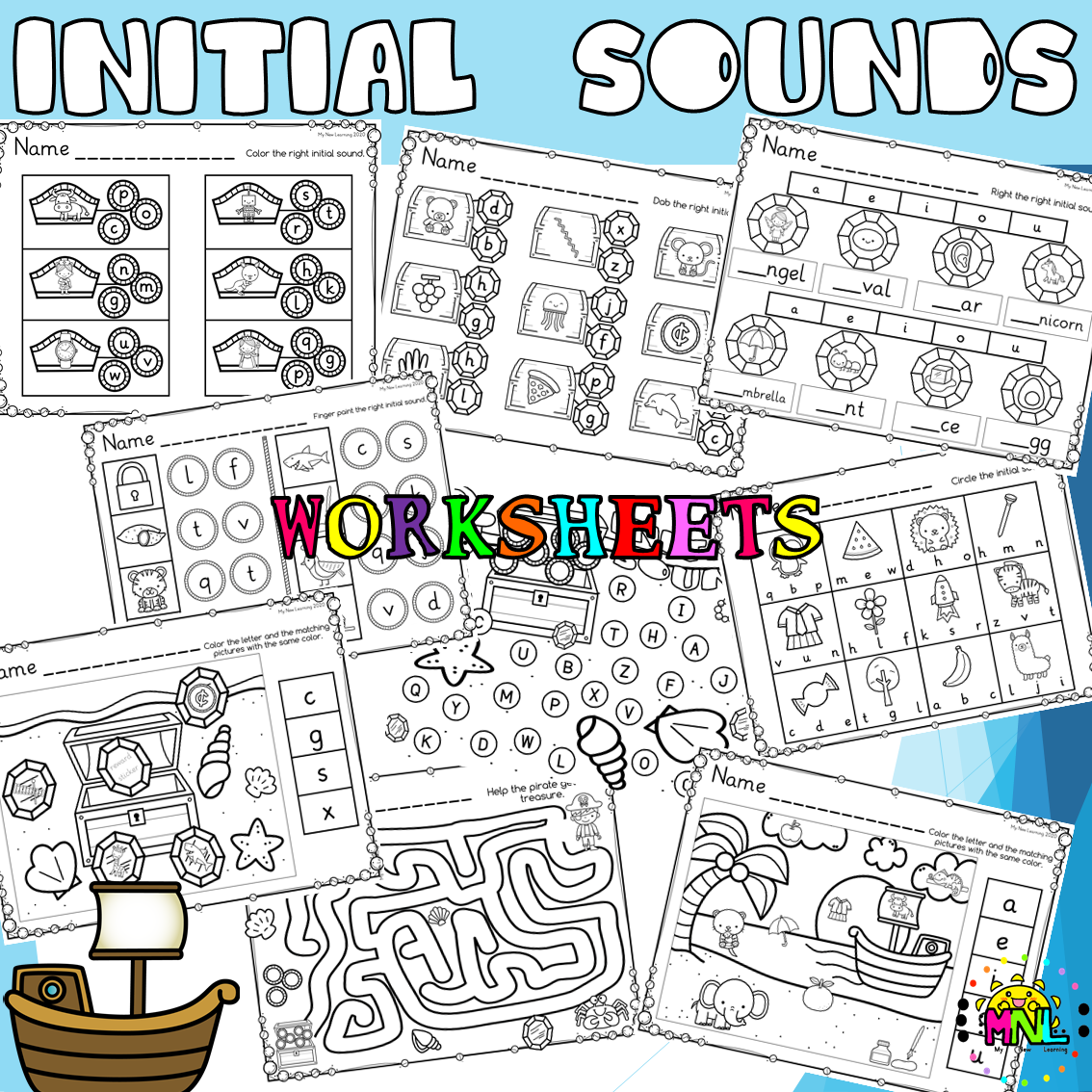 Phonics Beginning Sounds Matching Pirate Treasure Pack em 2020