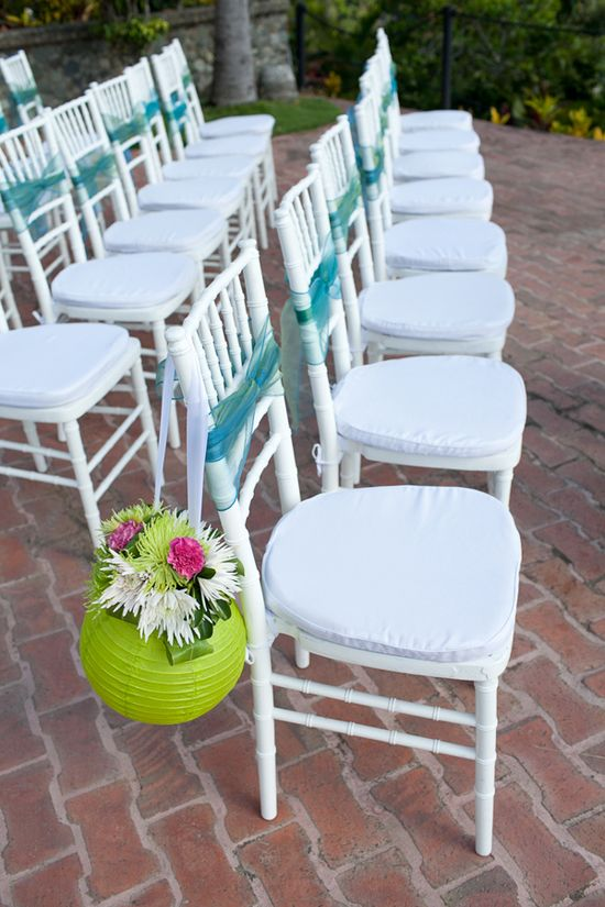 tropical wedding ceremony decor - i love the origina use of this chinese lantern (Fitness Planner App)