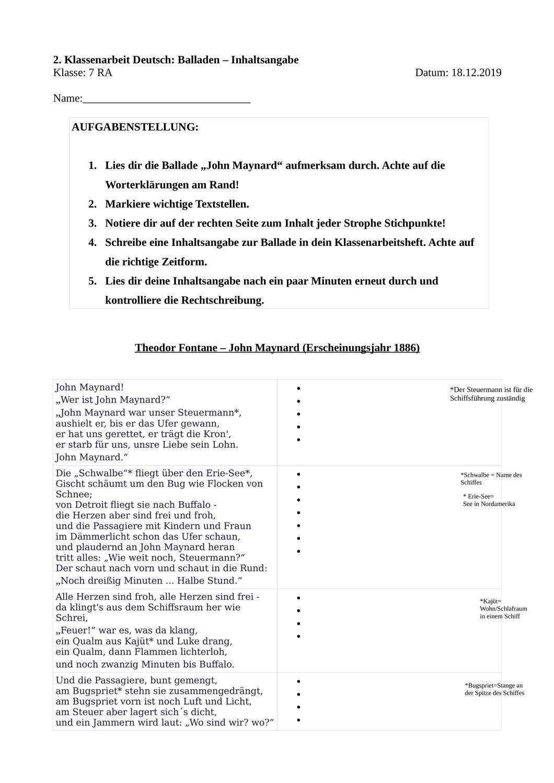 Klassenarbeit John Maynard Inhaltsangabe Unterrichtsmaterial Im Fach Deutsch Klassenarbeiten Inhaltsangabe Erste Klasse