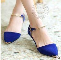 04ccb5a59a2 2014 de metal Ladie apontou de salto baixo sapatos sapatos femininos da  moda FRETE GRÁTIS S121 Sapatos Femininos