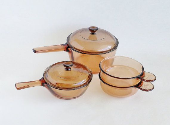 Corning Vision Glass Cookware Set Amber Brown By