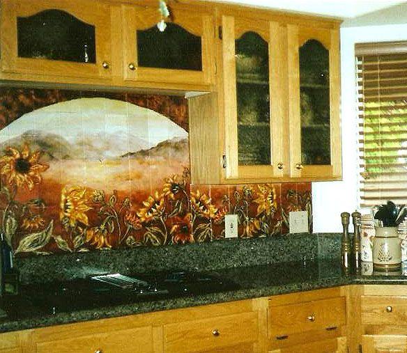 Sunflower Tile Mosaic Kitchen Wall Sunflower Kitchen Decor Sunflower Kitchen Backsplash Tile Mural