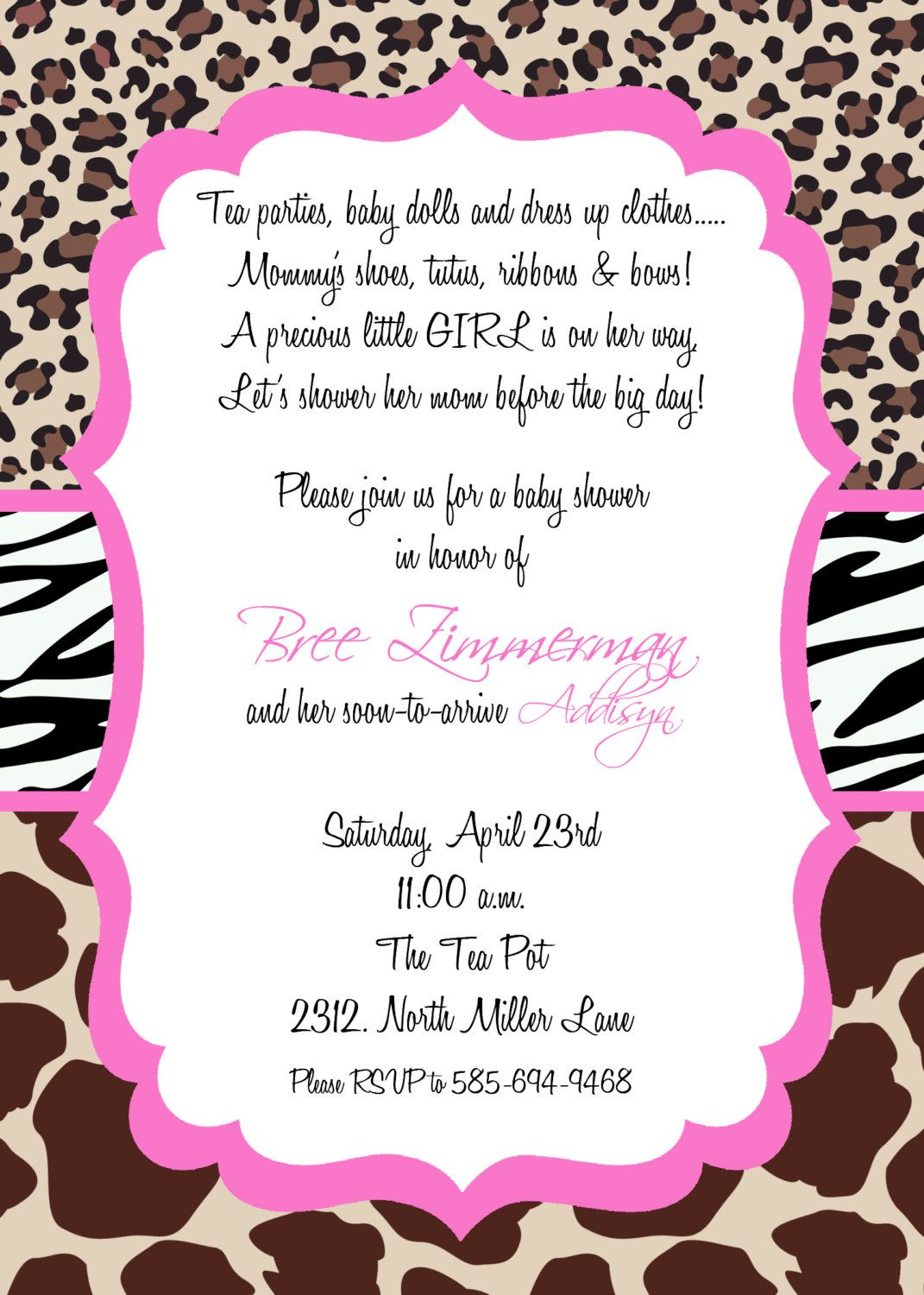 CoolNew Best Zebra Print Baby Shower Invitations Ideas | Invitations ...