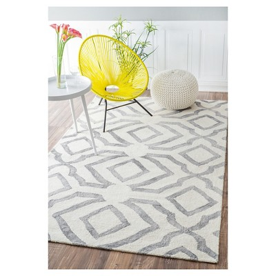 Nuloom 100 Wool Hand Looped Baggett Area Rug Gray 8 6