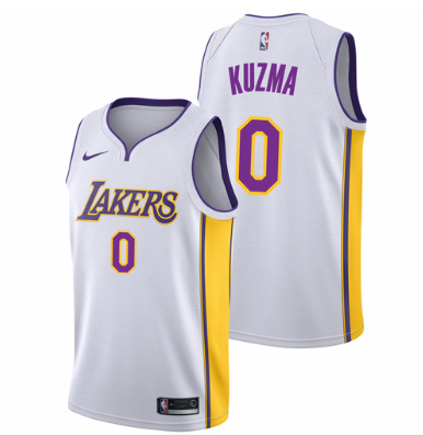 best sneakers 16161 aa8e4 Men 0 Kyle Kuzma Jersey White Los Angeles Lakers Jersey ...