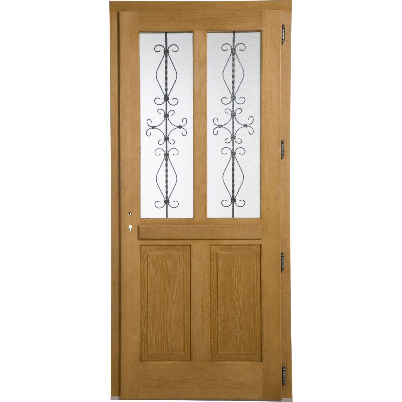 Porte entrée maison bois moulins primo poussant droit h215 x l90cm matériaux