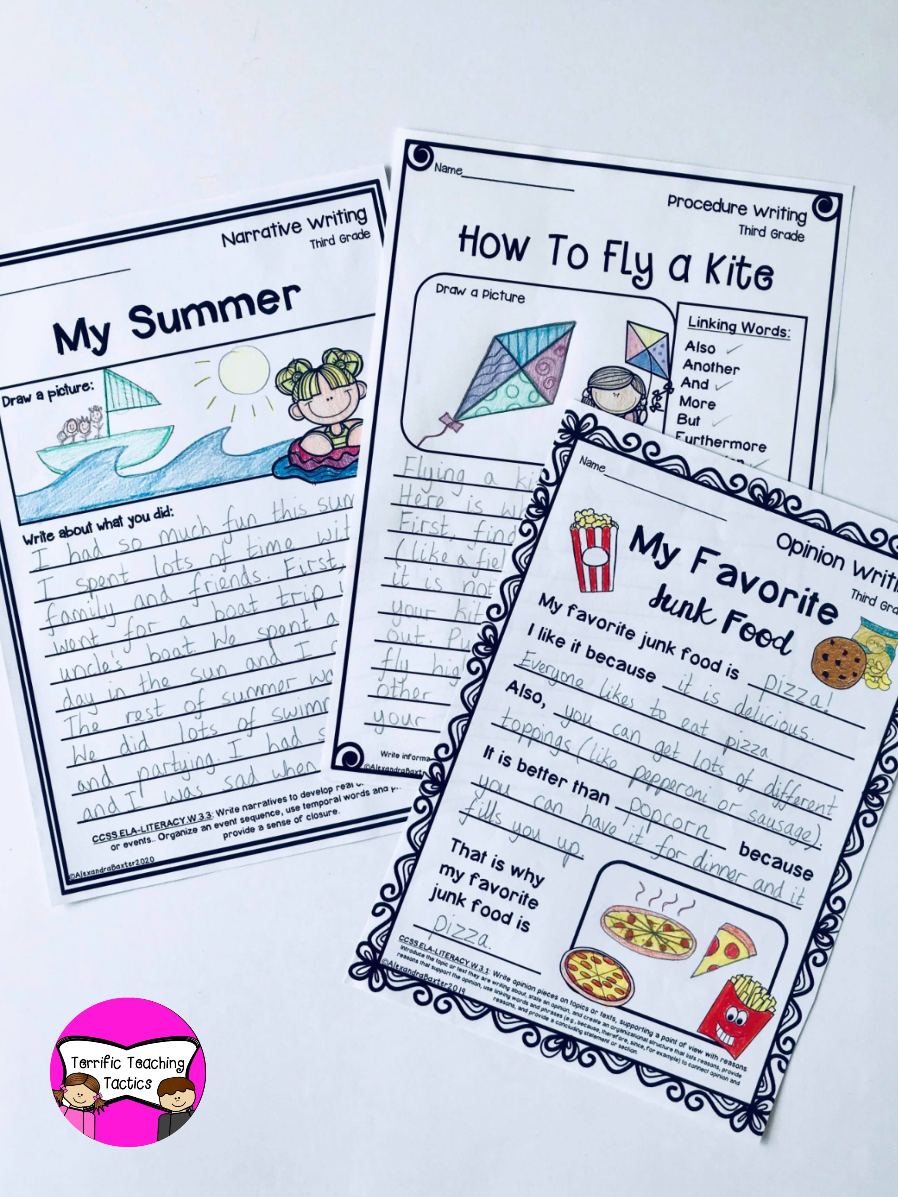Third Grade Writing Worksheets Prompts Bundle Opinion
