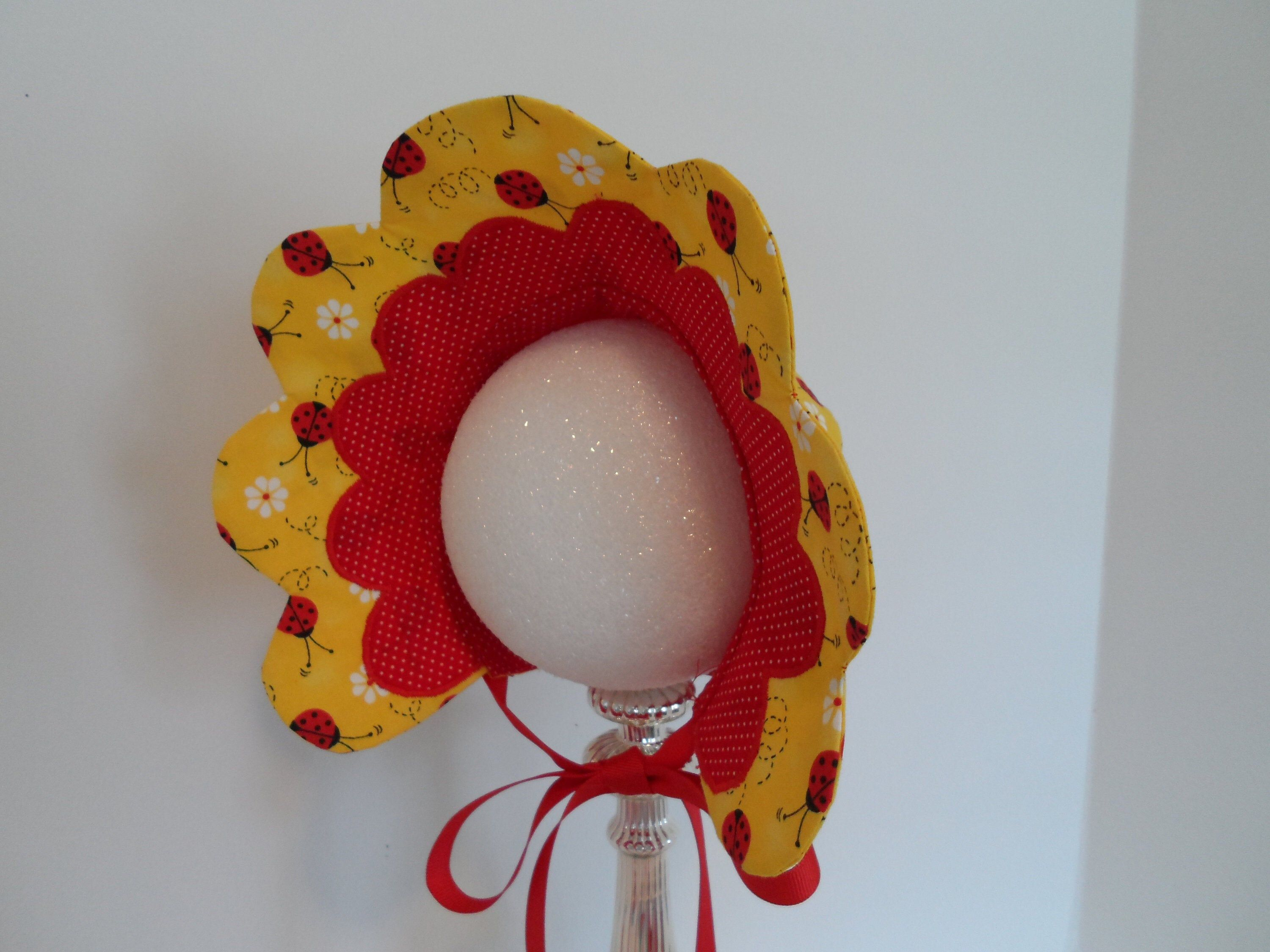 Photo of Bonnet / Scallop Edge Bonnet / Lady Bugs / Baby Bonnet / Fancy Bonnet / Baby Gift / Photo shoot / Newborn / Handmade