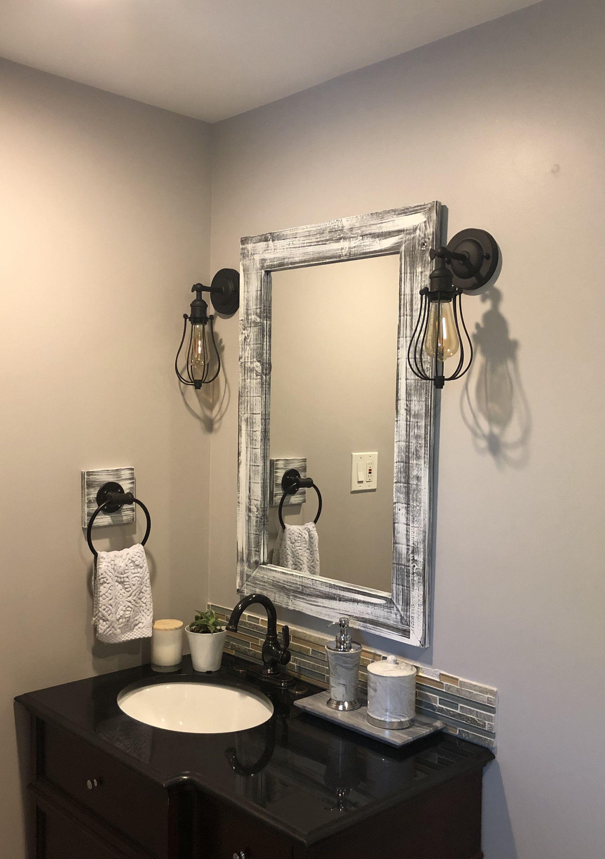 GRAY WHITEWASH Mirror, Wood Framed Mirror, Rustic Wood