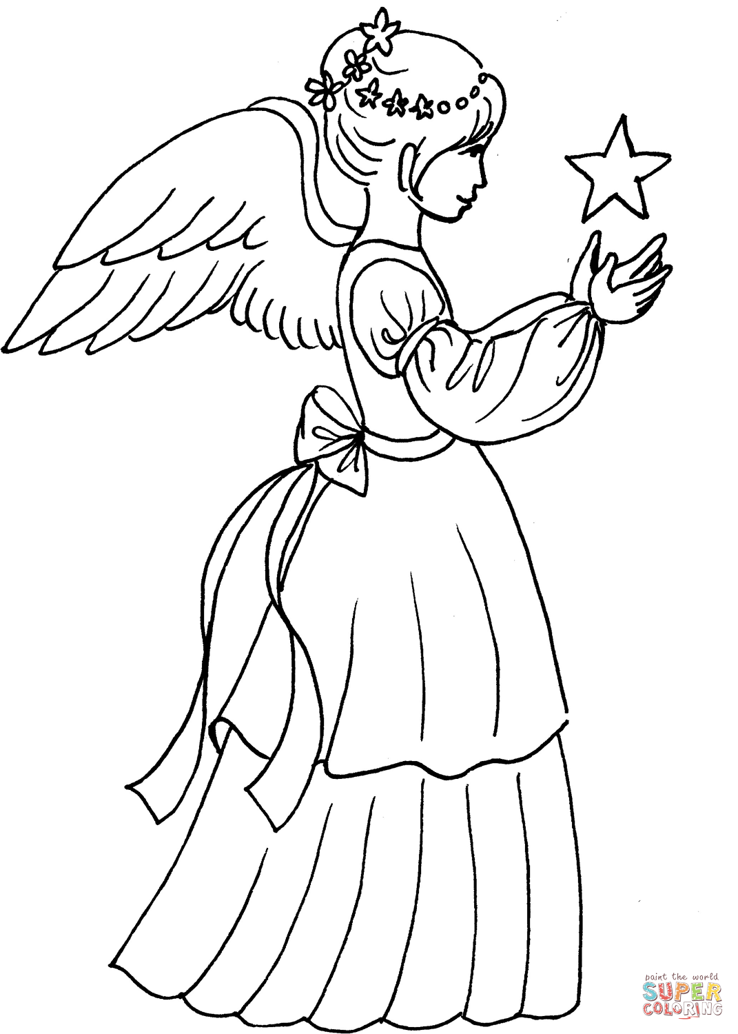 Found on Bing from www.supercoloring.com | Angel coloring ...