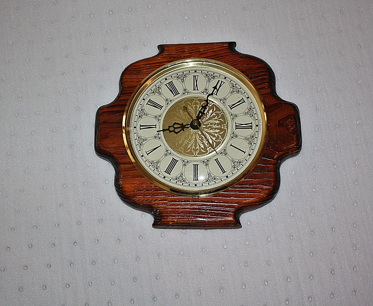 vintage wall clock hardwood frame gold numbers brass on wall clocks battery operated id=93539