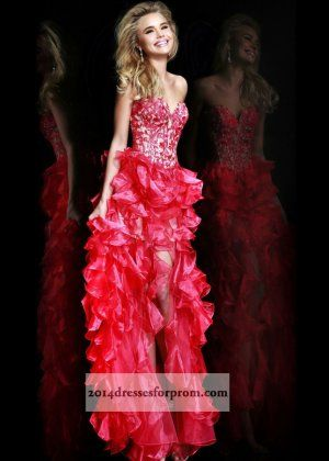 Coral Lace Corset High Low Ruffled Prom Dresses