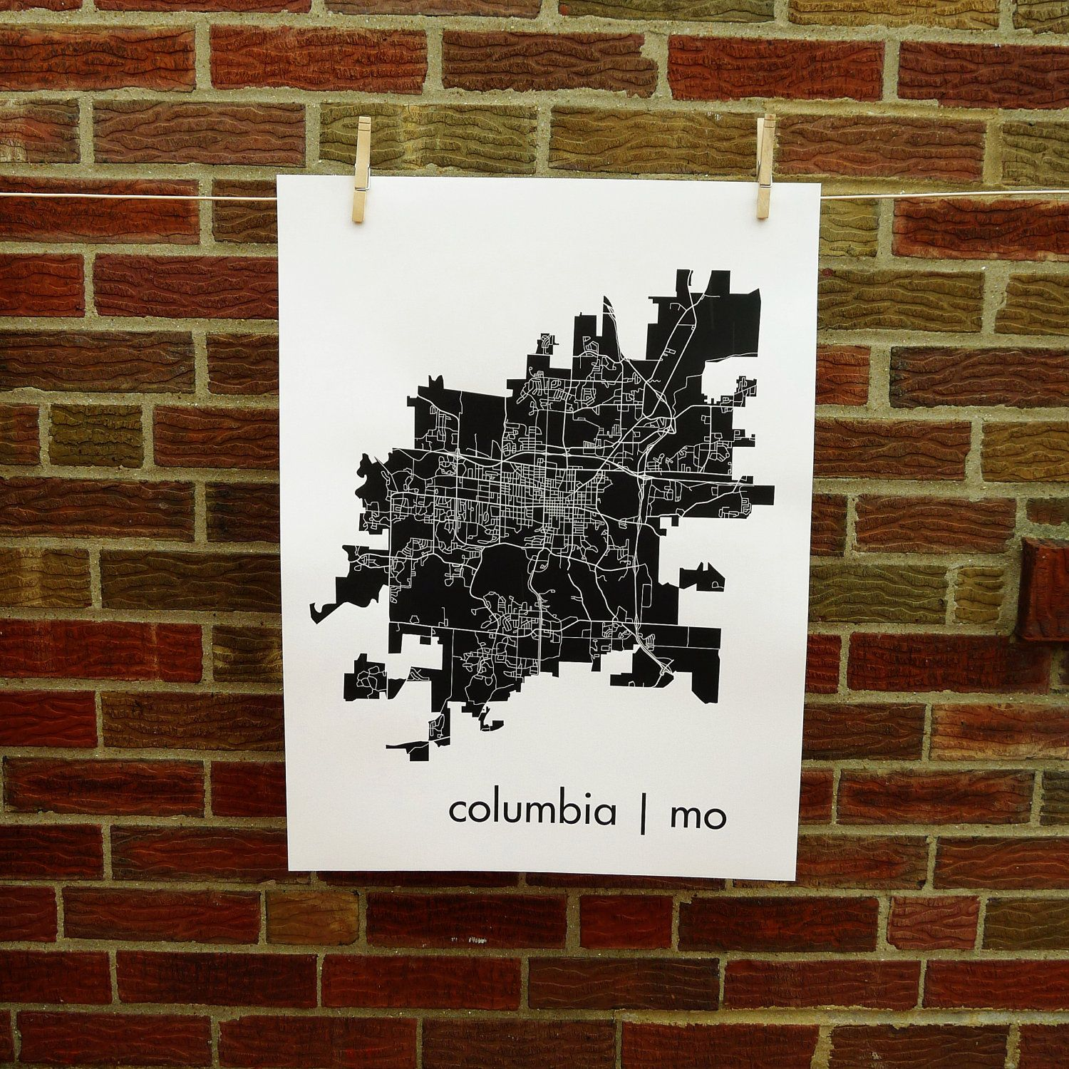 For All You Mizzou Students Grads Columbia Missouri Map Art