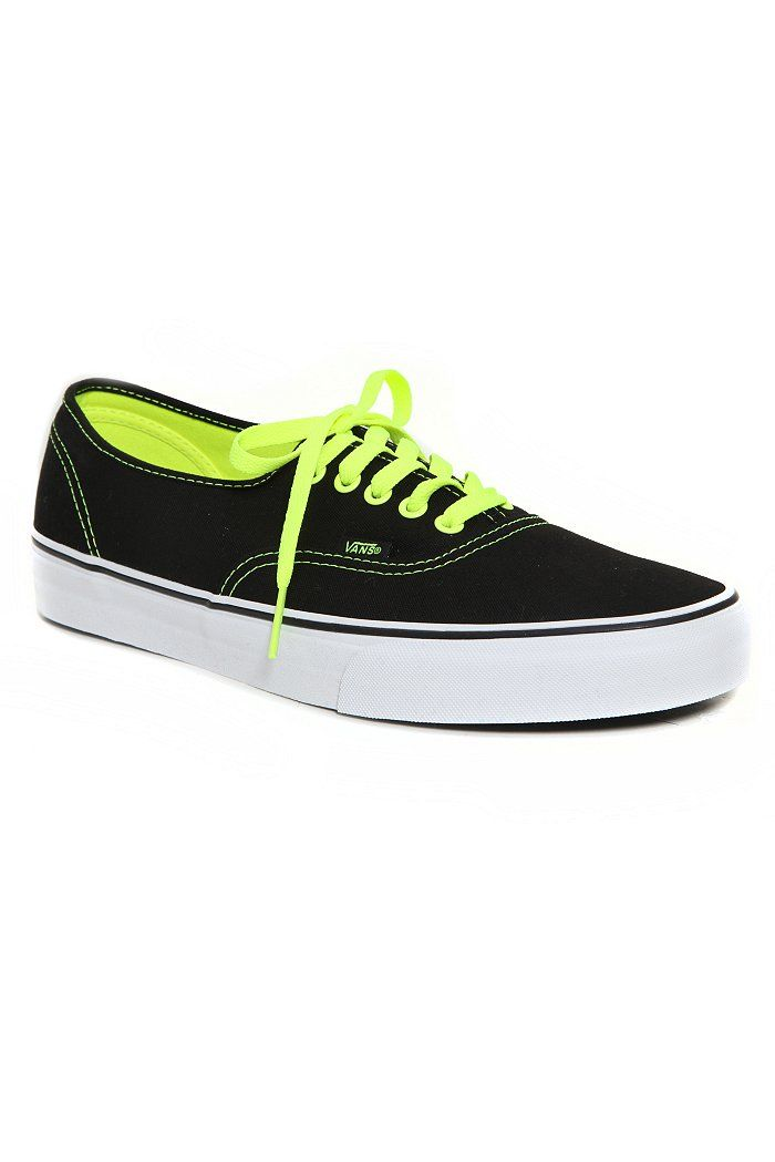 85d60b4a96f VANS BLACK NEON YELLOW POP AUTHENTIC LACE-UP SNEAKERS  44.99 I have to have  these