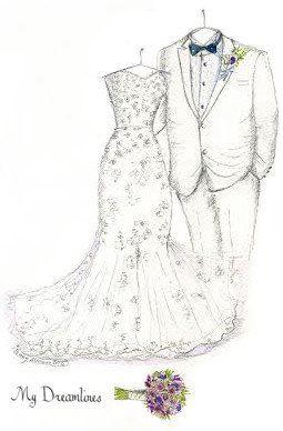 Sketch of Wedding Dress Tux & Bouquet One Year by Dreamlines https://www.etsy.com/listing/197871715/sketch-of-wedding-dress-tux-bouquet-one?