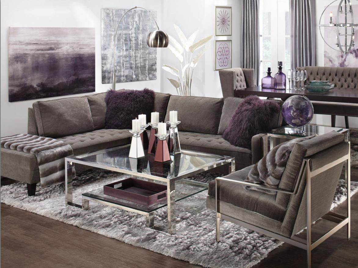 Modern luxurious living room sofa side chair aubergine purple