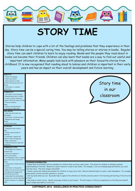 Story Time Observation Template EYLF \ Program Planning - notice of copyright importance