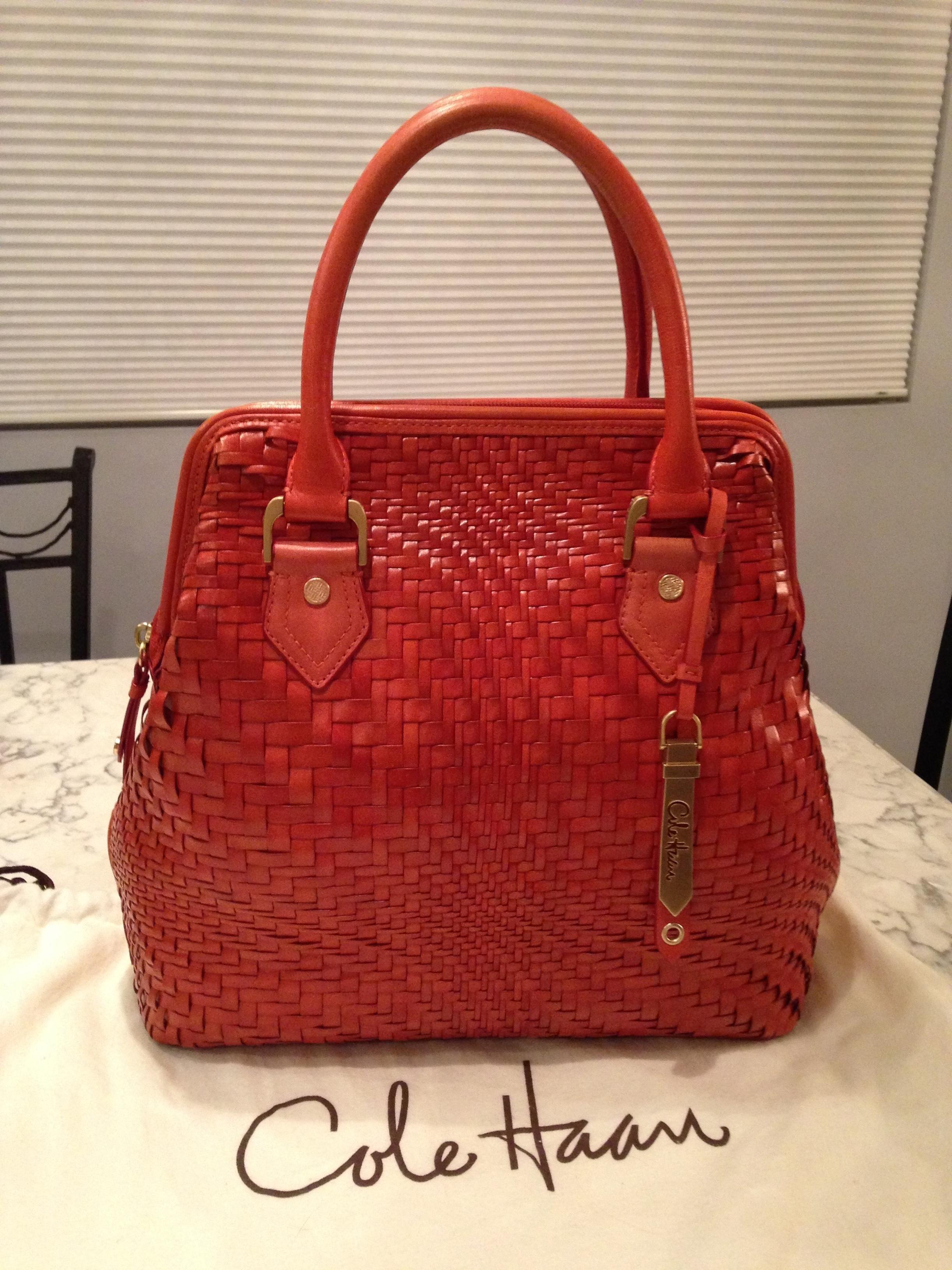 Cole Haan Genevieve Woven Leather Tote Handbag Spicy Orange Red Orange Brown  Golden Brown Satchel. Save 50% on the Cole Haan Genevieve Woven Leather Tote  ... efb89cad7c520