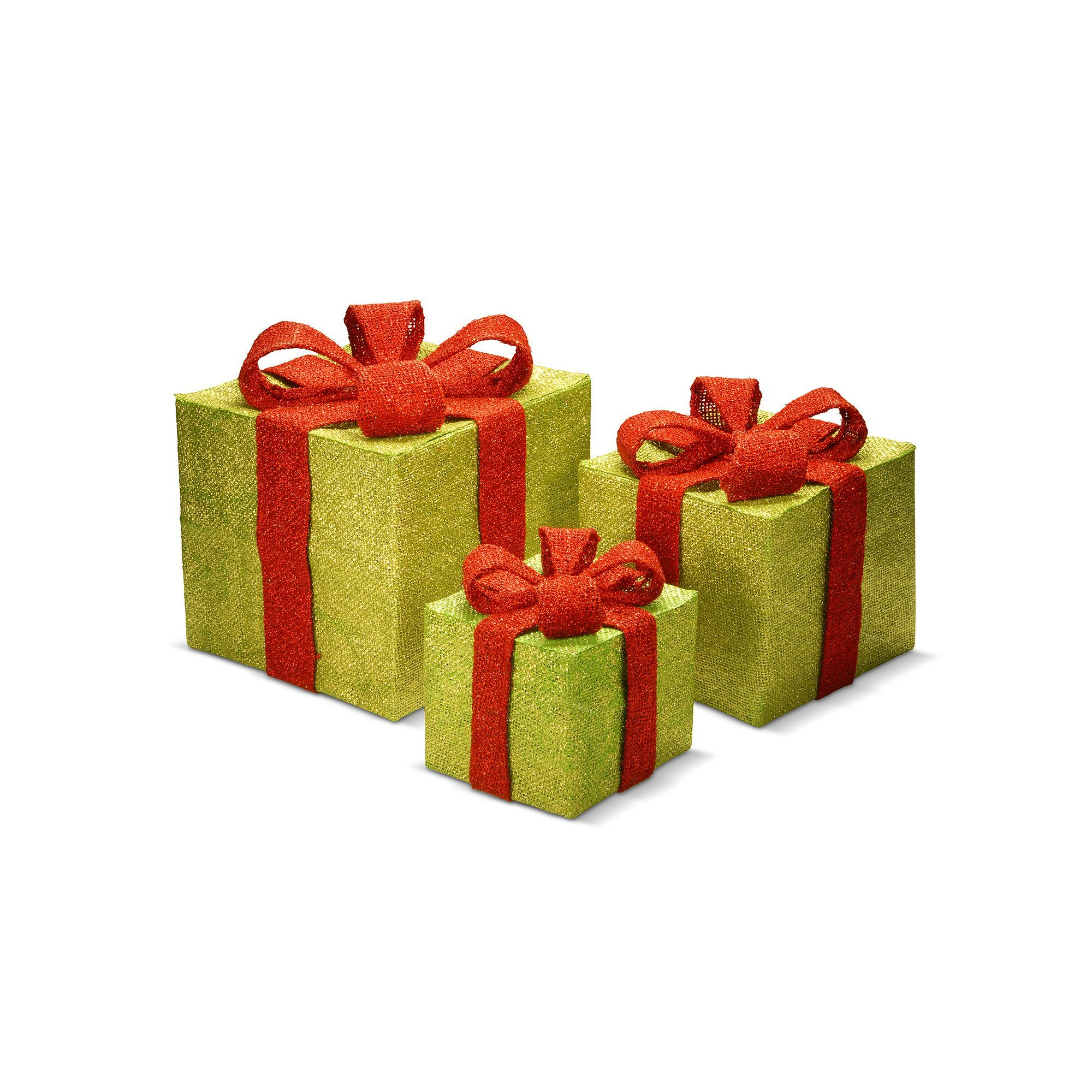 National Tree Company Gift Box Christmas Table Decor 3-piece Set, Multicolor