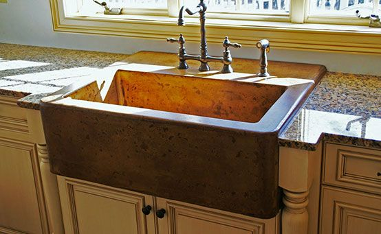 Apron Front Sink Also Known As A Farm Or Farmhouse Sink These Sinks Have A Large Apron In Front Farmhouse Sink Kitchen Concrete Farm Sinks Concrete Kitchen