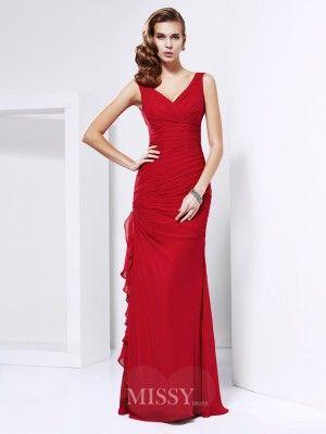 32ed86f8804 Sheath Column Chiffon Sleeveless Floor-Length V-neck Dresses - MissyGowns