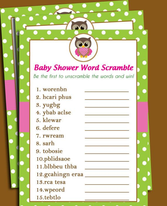 owl baby shower word scramble printable  lil' owl collection, Baby shower invitation