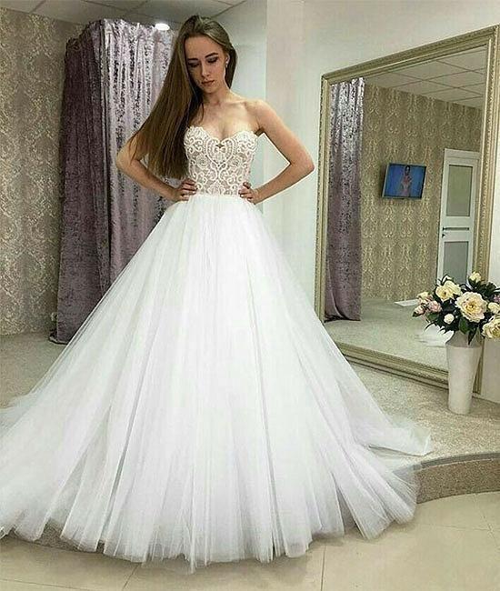 White Sweetheart Beading Tulle Long Prom Dress,2018 Evening Dress ...