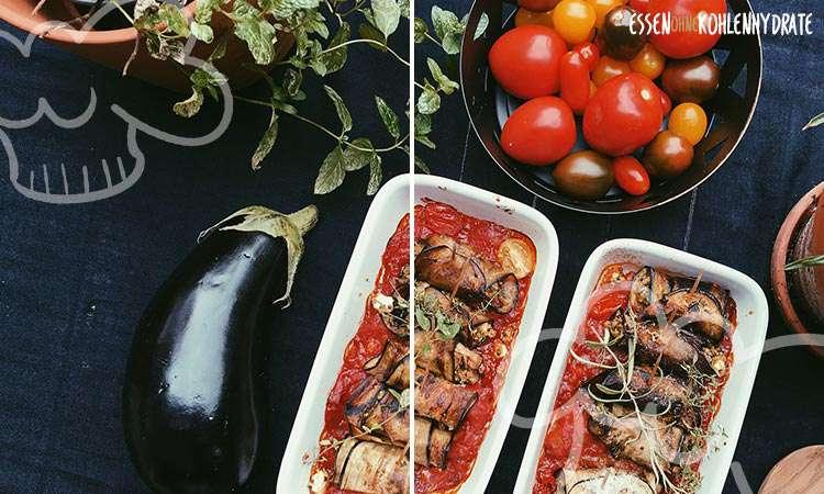 Auberginenroellchen Tomatensosse