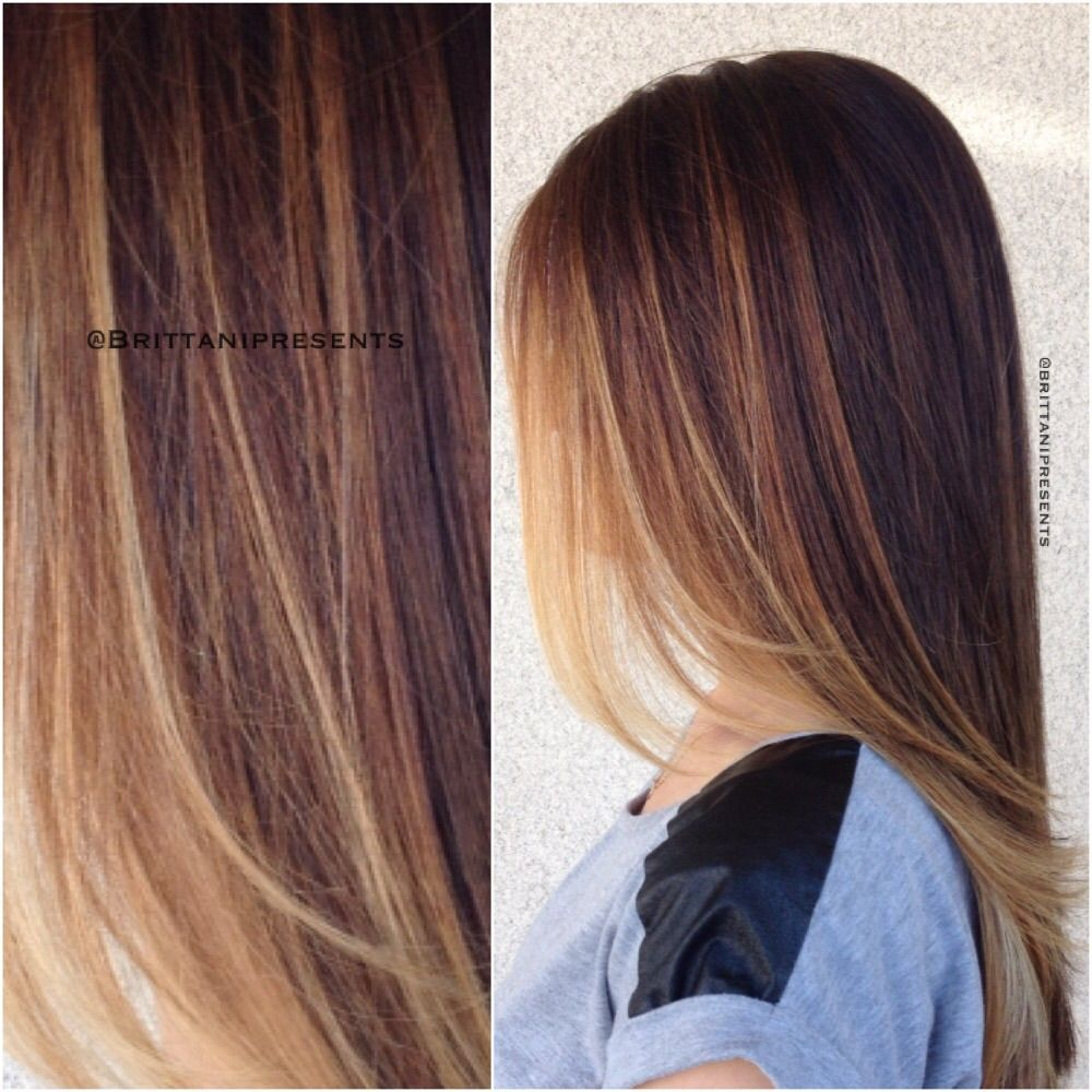 Chocolate brown brunettehair with golden highlights fallhair