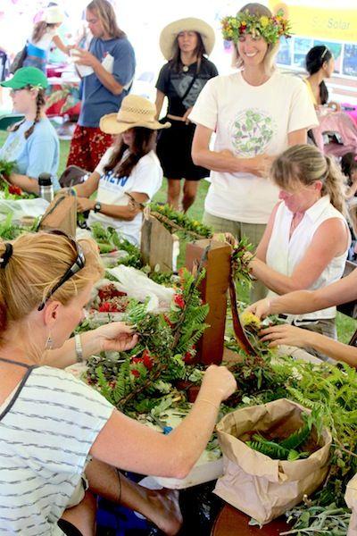 Native Hawaiian Plant Society making haku lei at the Ha'iku