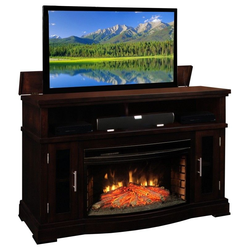 Our Loft Tv Lift Cabinet With Electric Fireplace Made In Pennsylvania