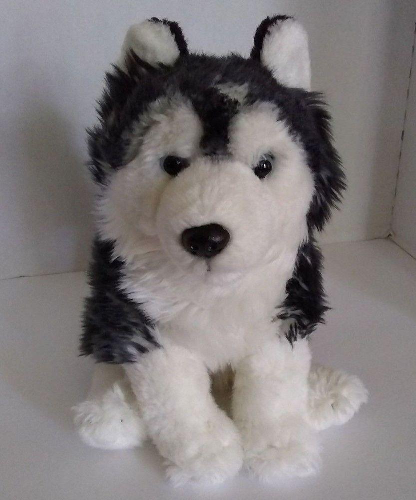 Siberian Husky Dog Plush Stuffed Toy 10 Black White Blue Eye Books