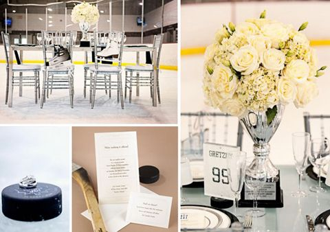 I would never have my wedding at an arena or anything else like that.  I wouldn't have a full hockey themed wedding.  But it's obvious we would need a few hints at something that forms so much of our lives....I like these centrepieces and table cards