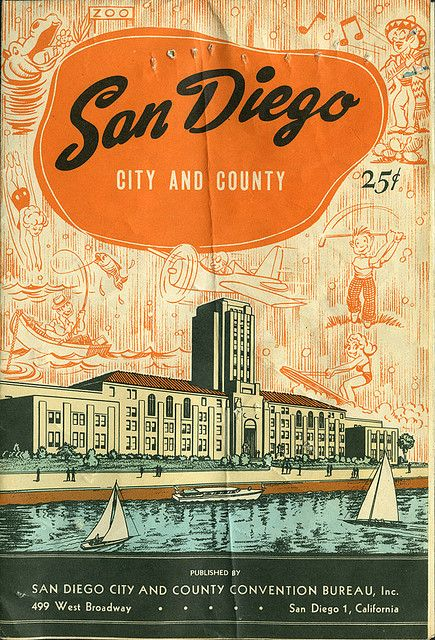 Vintage San Diego Map.Ephemera San Diego Map Front Graphic Design Typography