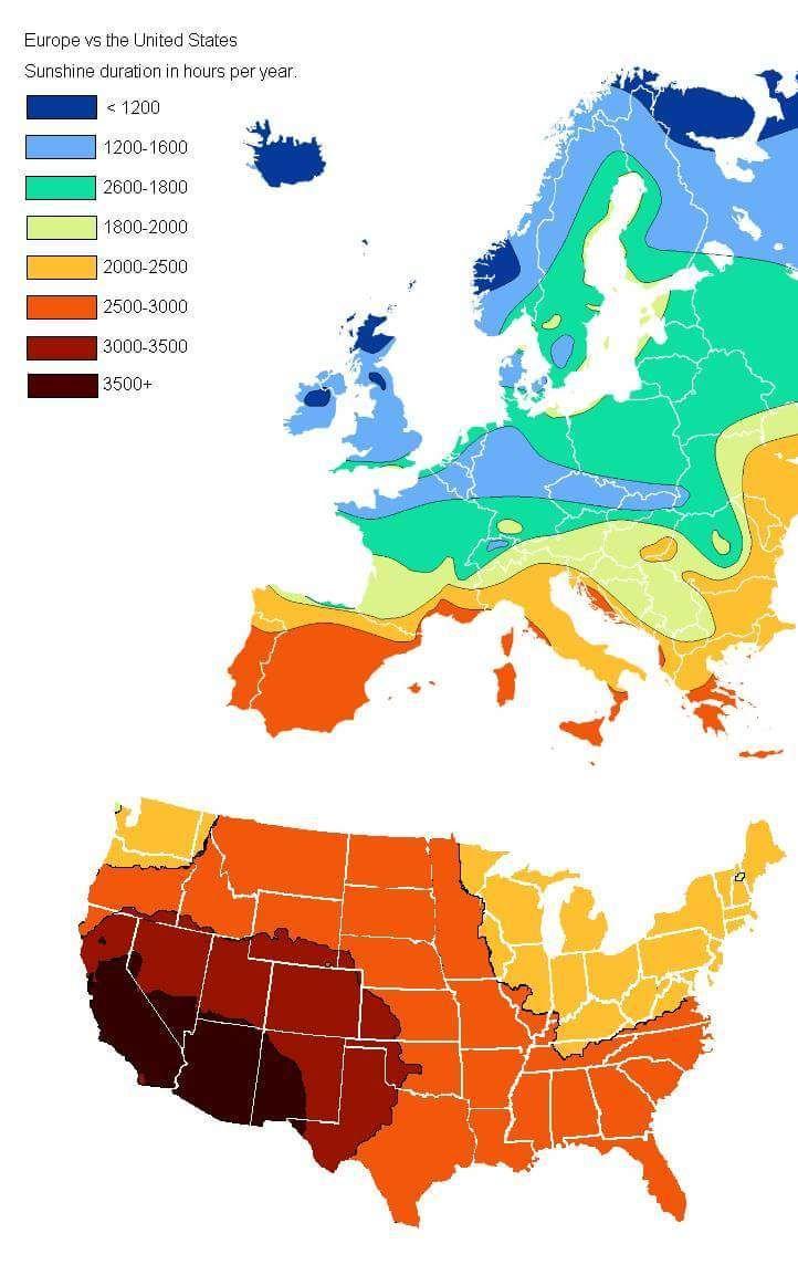 US vs Europe Annual Hours of Sunshine (Europe, North America, United ...