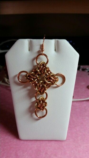 Copper and brass Cloud Cover Cross.  Original design by Bike Part Jewelry.