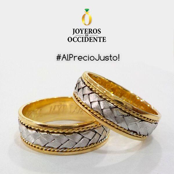 Argollas de matrimonio en oro amarillo y blanco.