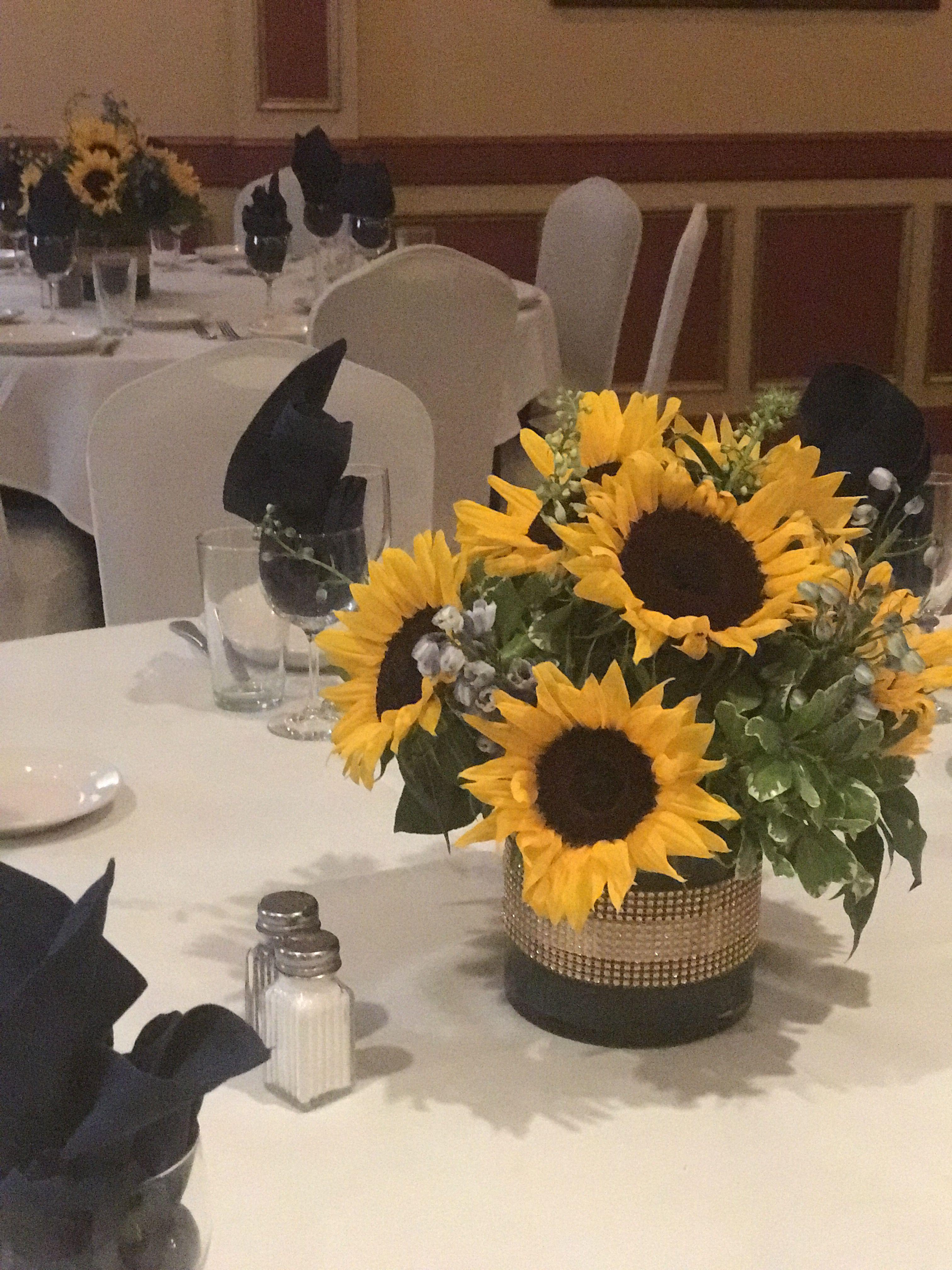 Bright rustic sunflower centerpiece flower delivery