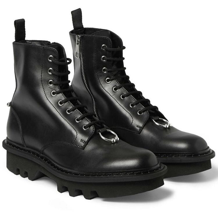 pierced lace-up boots - Black Neil Barrett