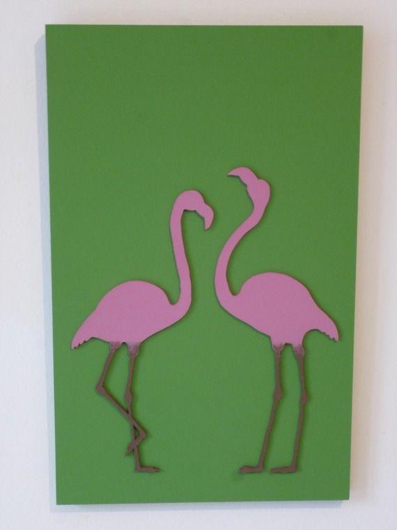 tableau sur bois les deux flamants roses chloe. Black Bedroom Furniture Sets. Home Design Ideas