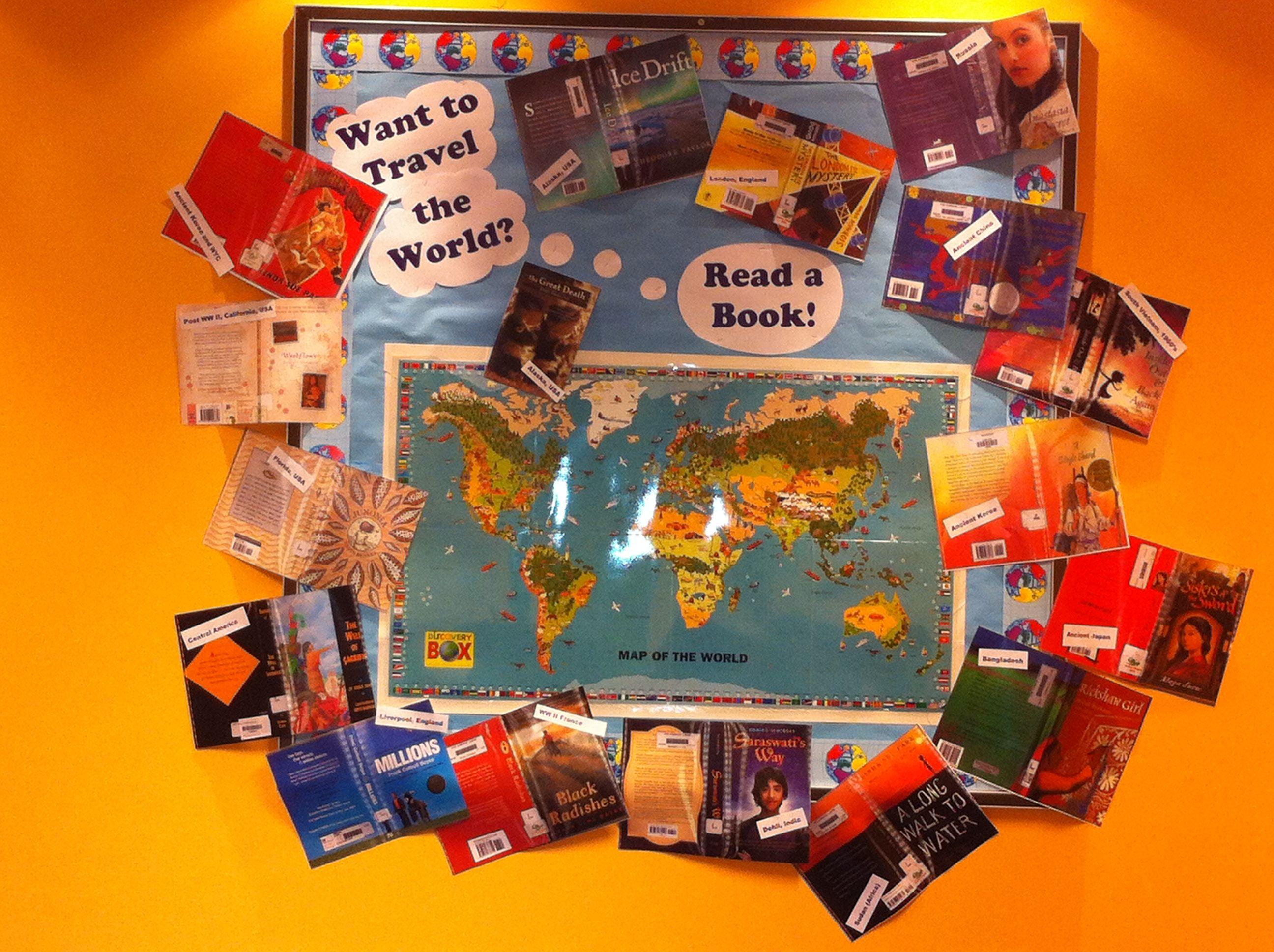 Travel World Read Book Bulletin Board