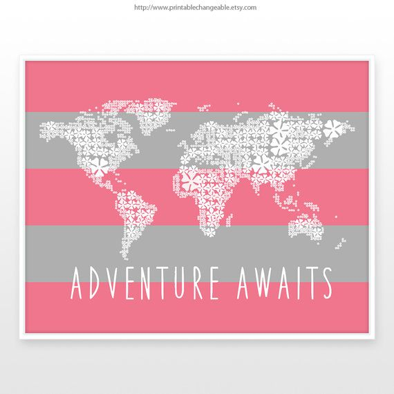 Girls room decor, world map poster, adventure awaits printable, pink - copy world map poster the range