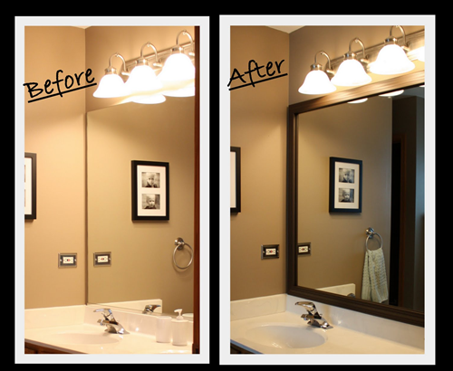 Brown Framed Bathroom Mirrors diy framing a bathroom mirror - such a neat way to customize the