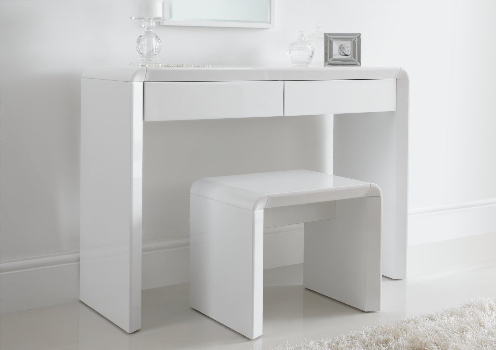 Best Ice High Gloss Dressing Table Only White White 400 x 300