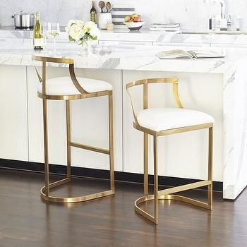 Brass Base White Cushion Armless Counter Stool Stools For
